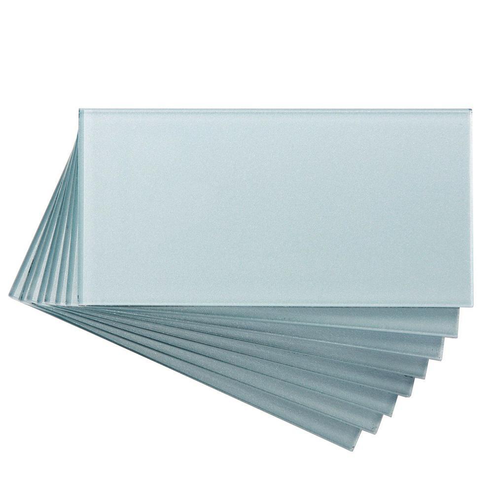Aspect 3 in. x 6 in. Glass Decorative Wall Tile in Glacier (8-Pack)
