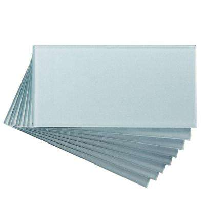 3 in. x 6 in. Glass Decorative Wall Tile in Glacier (8-Pack)