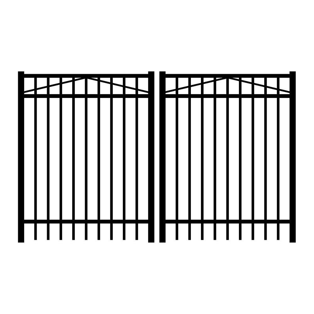 Jefferson 8 ft. W x 3 ft. H Black Aluminum 3-Rail Double Drive Fence Gate