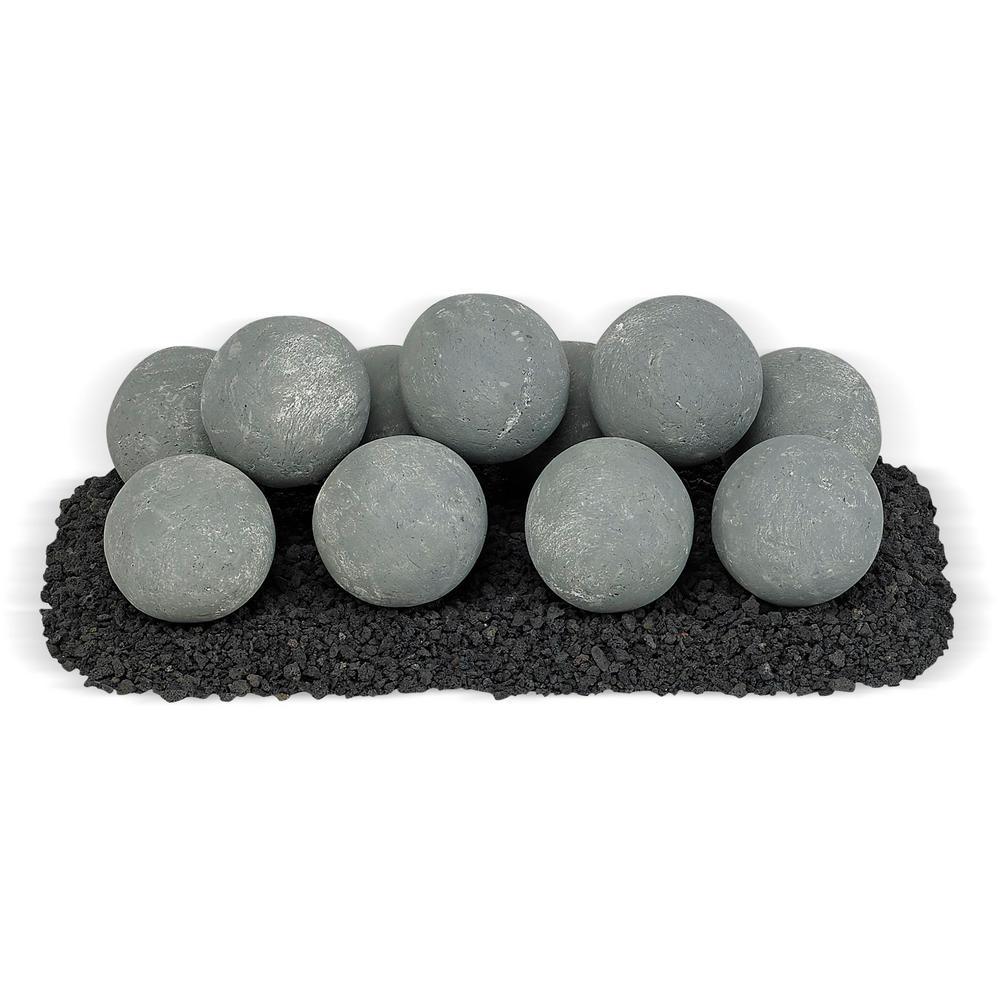 18 in. x 6 in. Cape Gray Uniform Set, 11-4 in. Lite Stone Balls with 5 lbs. Small Lava Rock