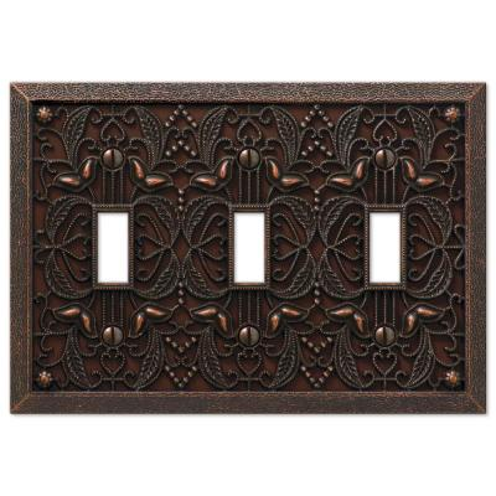 Filigree 3 Gang Toggle Metal Wall Plate - Aged Bronze