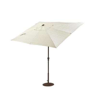 Camden 10 ft. x 6 ft. Aluminum Patio Umbrella in Fretwork Flax