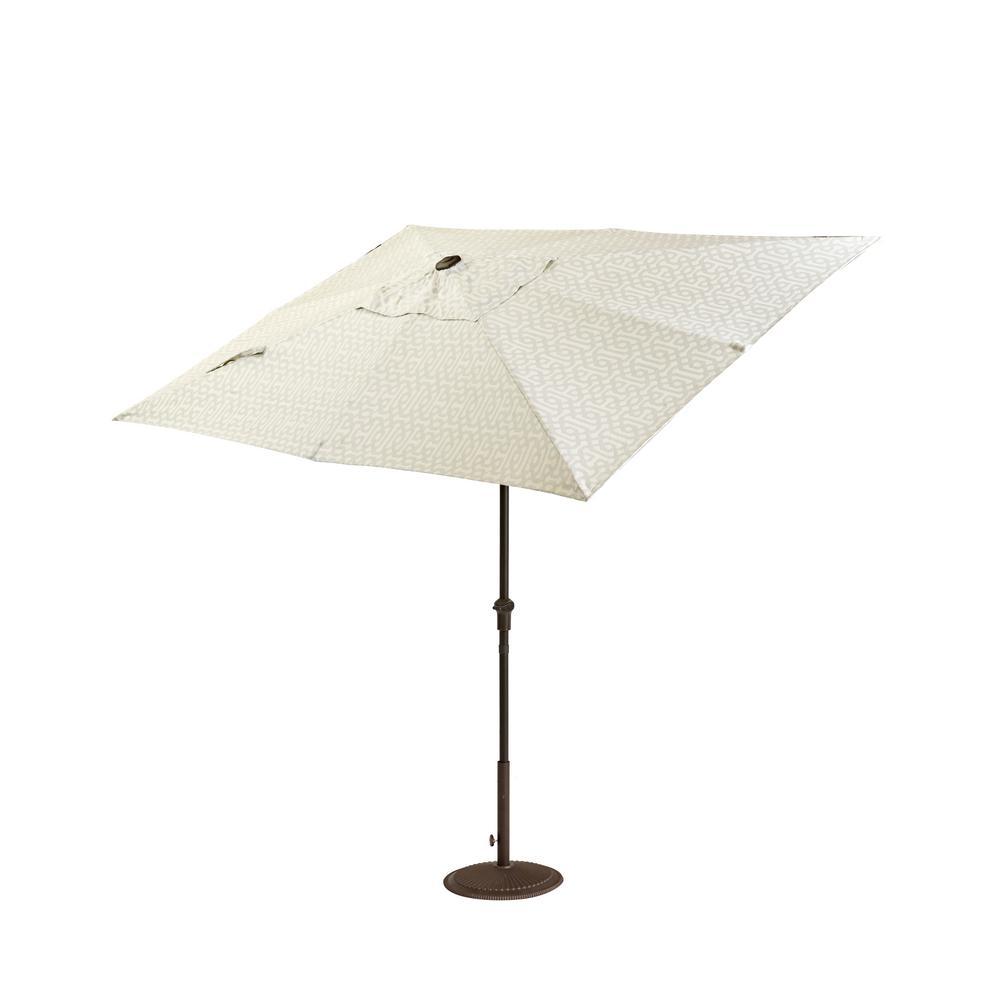 Camden 10 ft. x 6 ft. Aluminum Patio Umbrella in Fretwork Flax