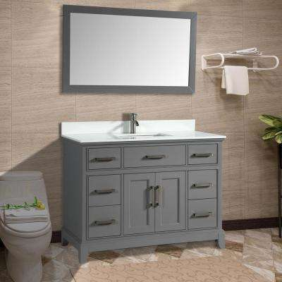 Genoa 60 in. W x 22 in. D x 36 in. H Bath Vanity in Grey with Vanity Top in White with White Basin and Mirror