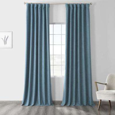 Ovation Blue Vintage Thermal Cross Linen Weave Max Blackout Curtain - 50 in. W x 120 in. L (1 Panel)