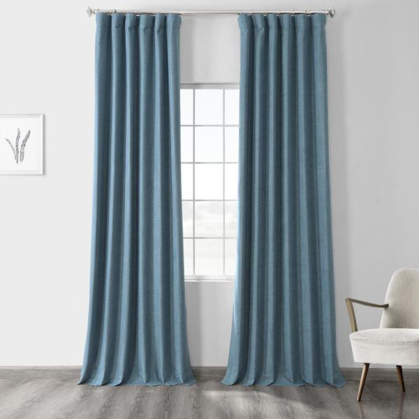 Ovation Blue Vintage Thermal Cross Linen Weave Max Blackout Curtain - 50 in. W x 96 in. L (1 Panel)