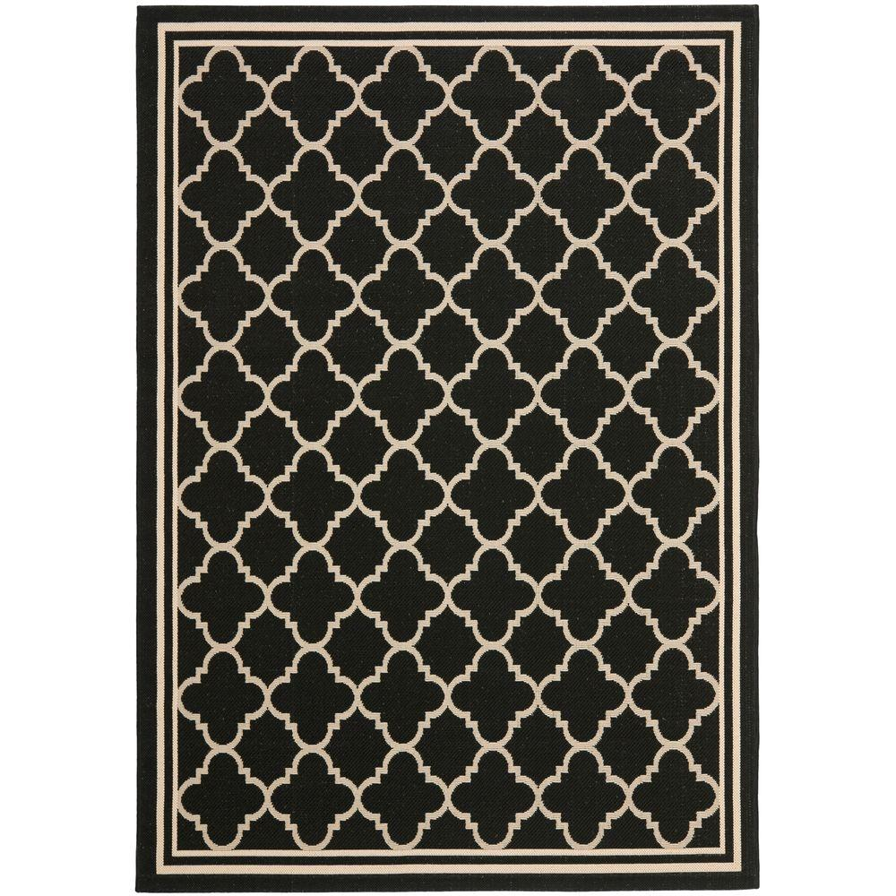 Courtyard Black/Beige 9 ft. x 12 ft. Indoor/Outdoor Area Rug