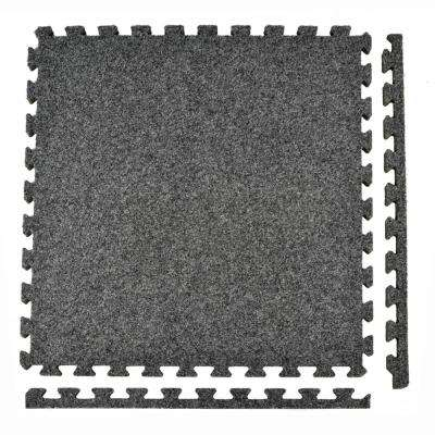 Royal Carpet Dark Gray Velour Plush 2 ft. x 2 ft. x 5/8 in. Interlocking Carpet Tile 96.875 sq. ft. (25 Tiles/Case)