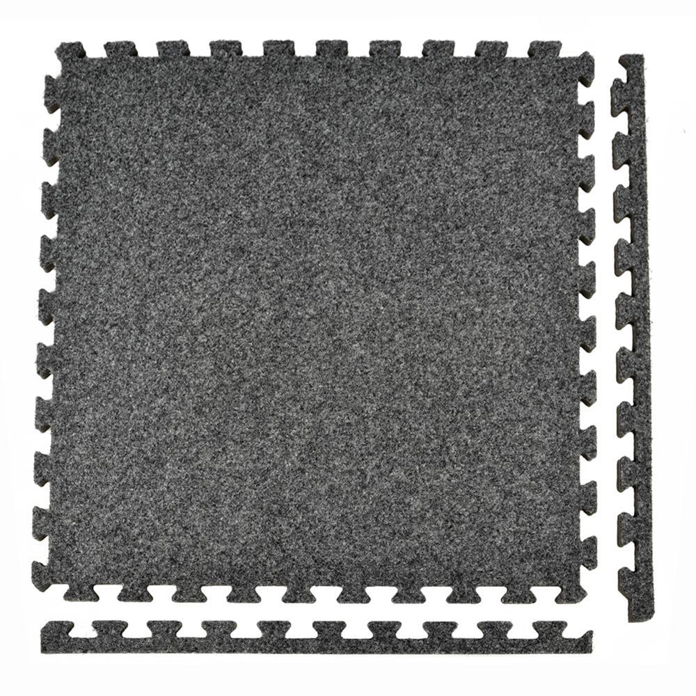 Royal Carpet Dark Gray Velour Plush 2 ft. x 2 ft. x 5/8 in. Interlocking Carpet Tile 96.875 sq. ft. (25 tiles per Case)