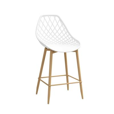 Kurv 25.5 in. White/Natural Counter Chair (Set of 2)