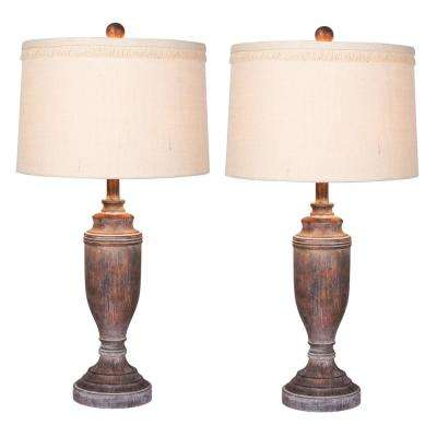 29.5 in. Distressed Urn Cottage Antique Brown Resin Table Lamp (2-Pack)