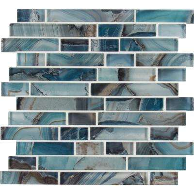 Night Sky Interlocking 11.81 in. x 11.81 in. x 8mm Glass Mesh-Mounted Mosaic Tile