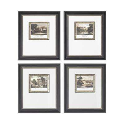 "14 in. x 12 in. ""Mini Estates"" Hand Painted Framed Wall Art (Set of 4)"