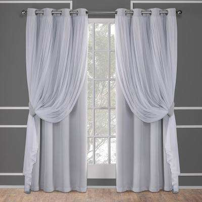 Catarina 52 in. W x 108 in. L Layered Sheer Blackout Grommet Top Curtain Panel in Cloud Gray (2 Panels)