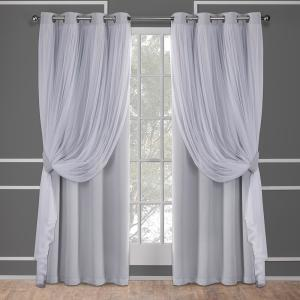 Catarina Cloud Grey Layered Solid Blackout and Sheer Grommet Top Window Curtain