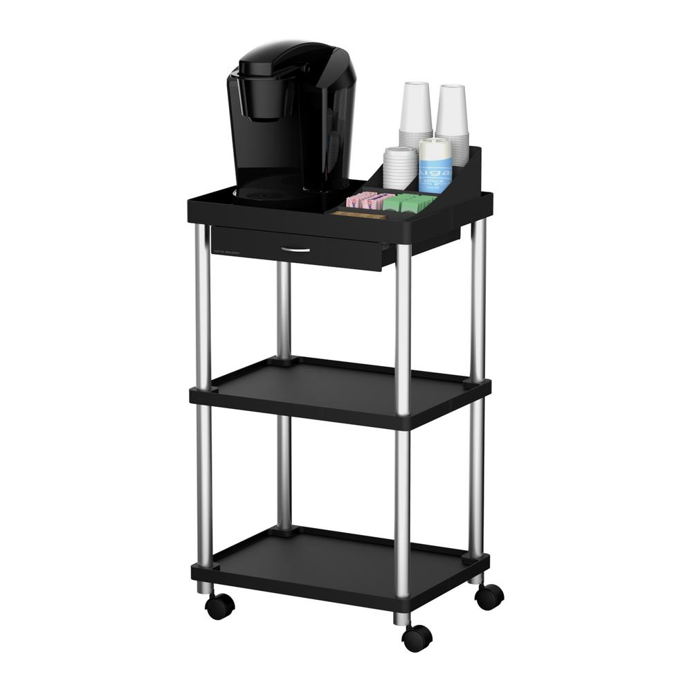 3-Tier Rolling Coffee Cart in Black