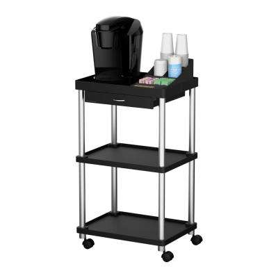 3-Tier Rolling Coffee Cart in Black