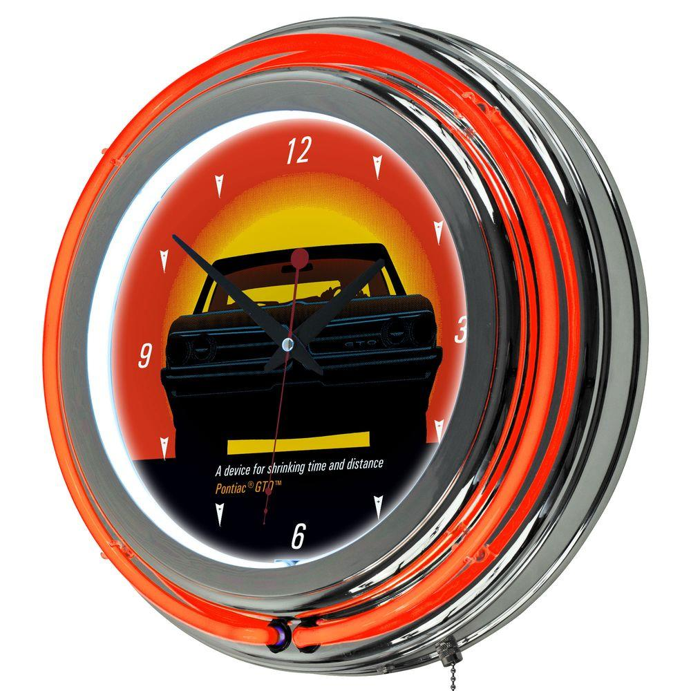 14 in. Pontiac GTO Time and Distance Double Ring Neon Wall