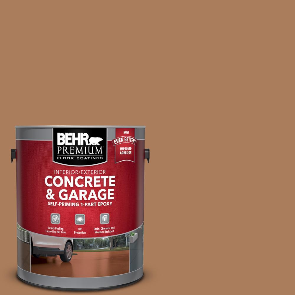 1 gal. #S230-6 Burnt Toffee Self-Priming 1-Part Epoxy Satin Interior/Exterior Concrete and Garage Floor Paint