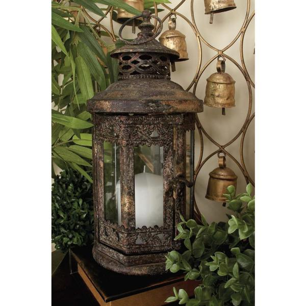 Litton Lane Rusted Brown Metal and Clear Glass Candle Lantern 52952