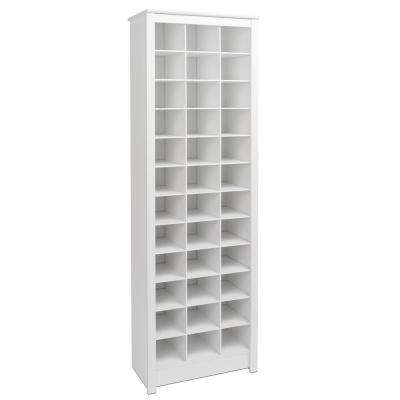 White Space-Saving Shoe Storage Cabinet