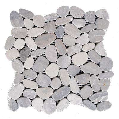 12 in. x 12 in. Light Grey Honed Sliced Pebble Floor and Wall Tile (5.0 sq. ft. / case)
