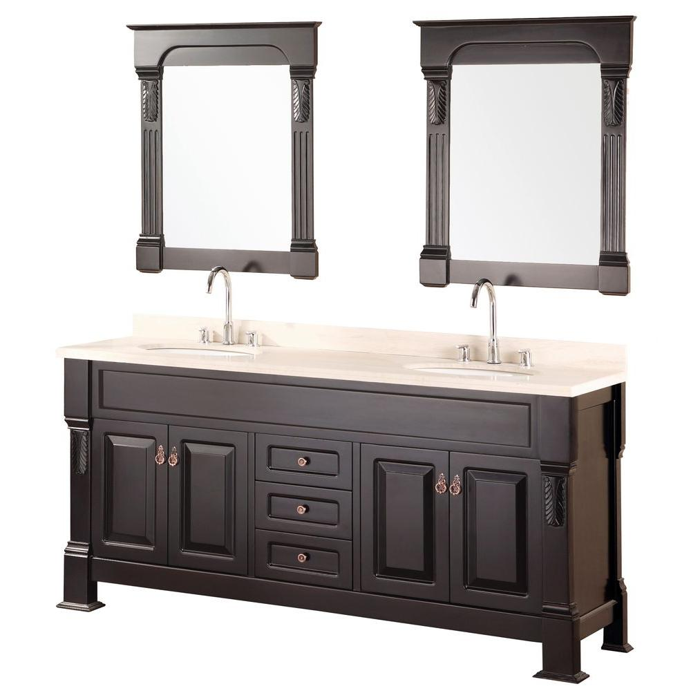 Design Element Marcos 72 in. W x 22 in. D Vanity in Espresso with Creme Marfil Marble Vanity Top and Mirror in Espresso