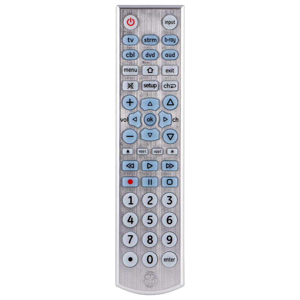 GE 6 Device UltraPro Universal Remote Control, Brushed Silver