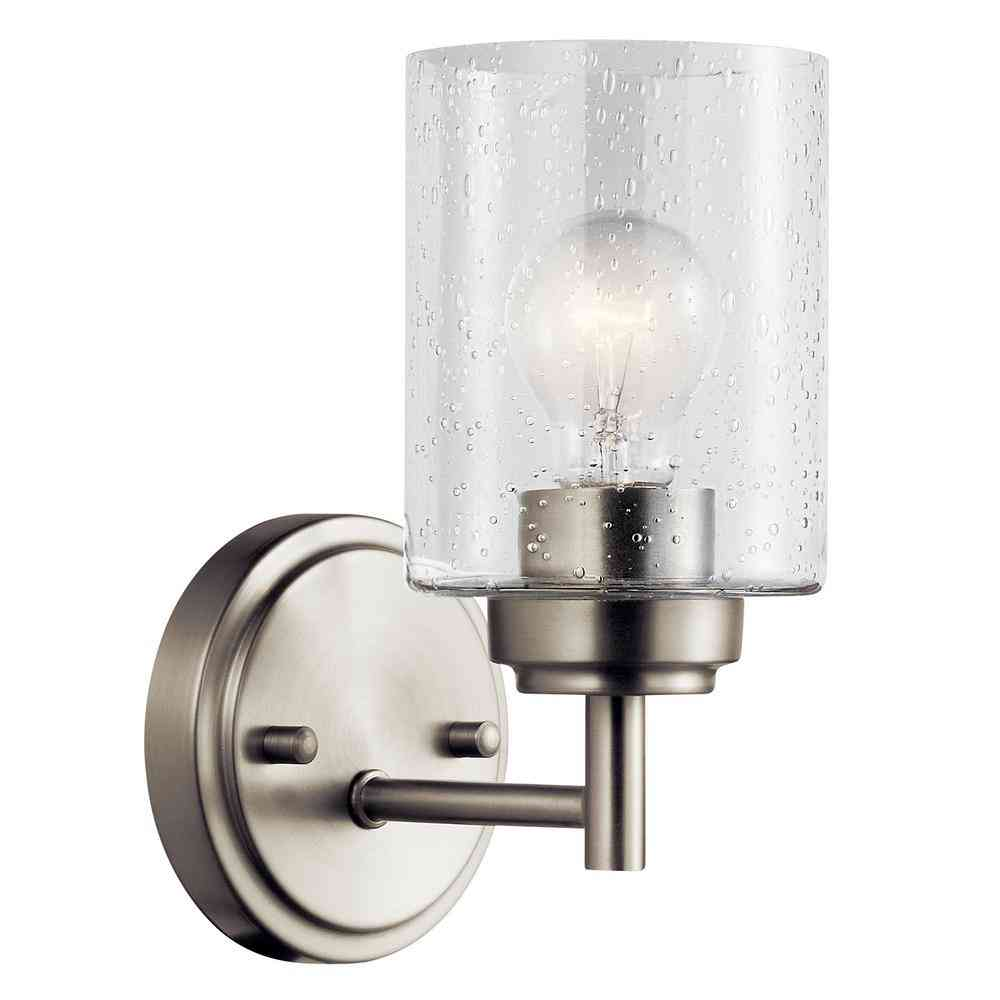 KICHLER Winslow 1-Light Brushed Nickel Wall Sconce with Clear - Sale: $42.49 USD (15% off)
