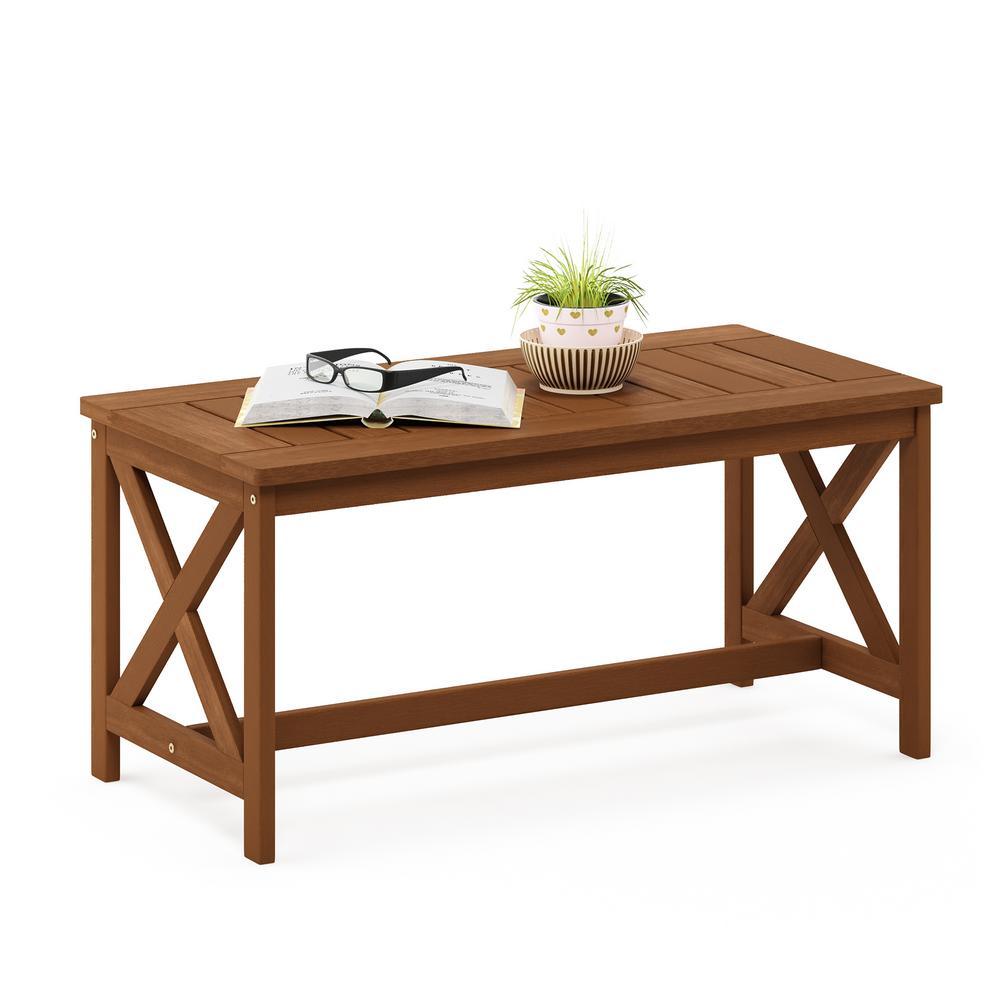 Furinno Tioman Teak Oil Hardwood Outdoor Coffee Table With X Leg