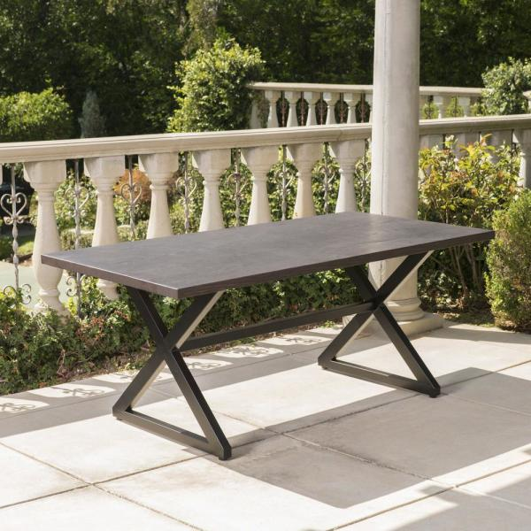 Rolando Brown Metal Outdoor Dining Table
