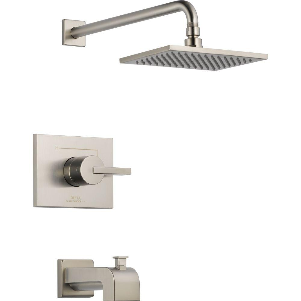 Delta Vero 1-Handle Tub and Shower Faucet Trim Kit Only in Stainless (Valve Not Included)