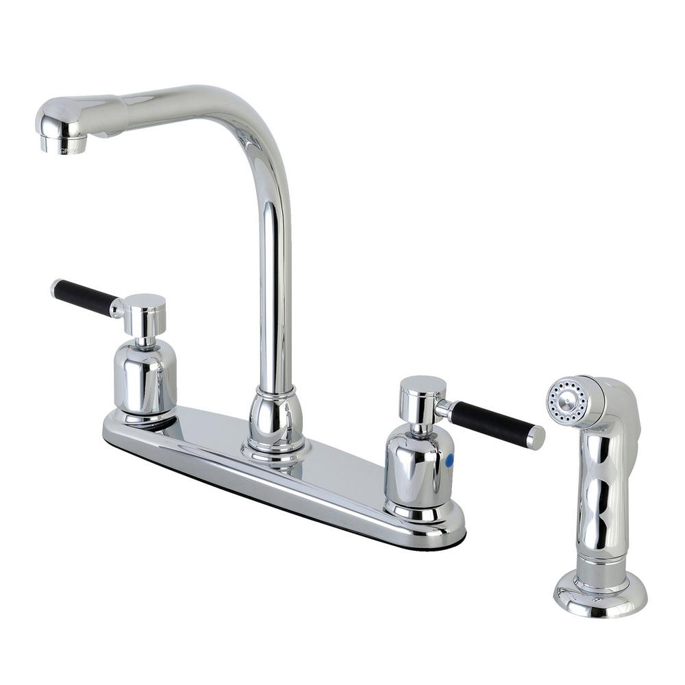 Modern 2-Handle High Arc Standard Kitchen Faucet with Side Sprayer in