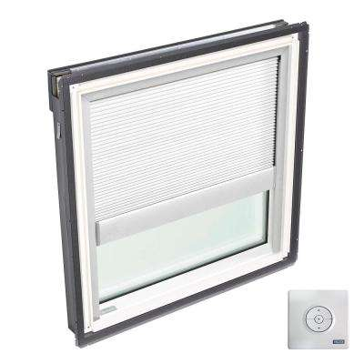 44-1/4 in. x 45-3/4 in. Fixed Deck-Mount Skylight with Laminated Low-E3 Glass, White Solar Powered Light Filtering Blind