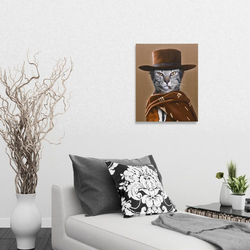 20 in. x 16 in. Pets Rock  Western  Graphic Art on Wrapped Canvas Wall Art, Multi What a macho kitty. Those eyes, that serape. Do you know. Do you feel lucky. Start your Pets Rock collection with Western. Join the Pop Culture World of Pets Rock Where Pets meet Celebrity. Color: Multi.