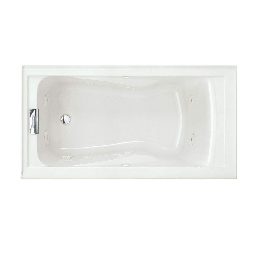 American Standard Evolution 60 In X 32 In Integral Apron Whirlpool Tub With Everclean Left Hand Drain In White 2425vc Lho 020 The Home Depot