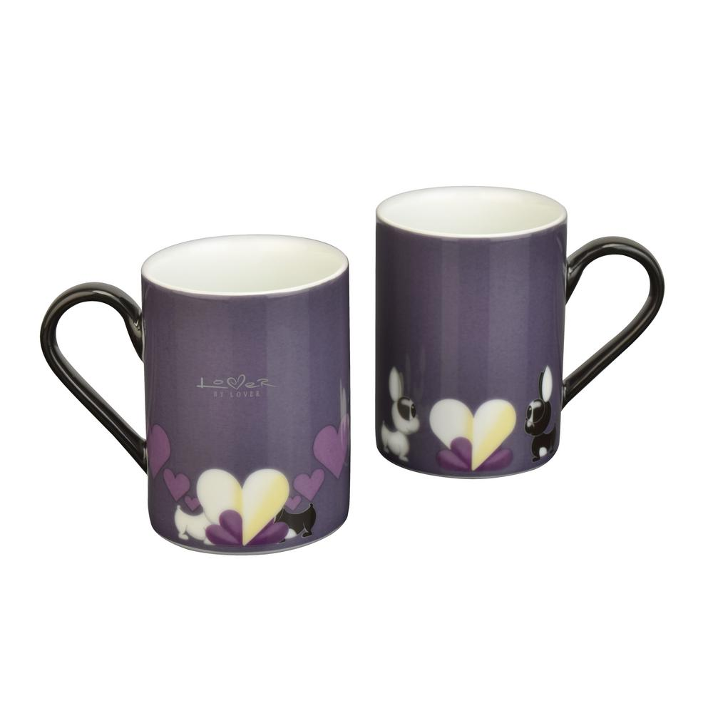 Lover by Lover 9.5 oz. Purple Porcelain Coffee Mugs (Set of