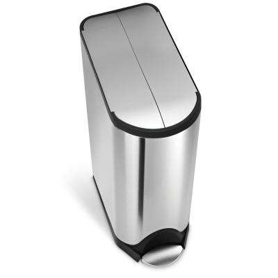 45-Liter Fingerprint-Proof Brushed Stainless Steel Butterfly Step-On Trash Can