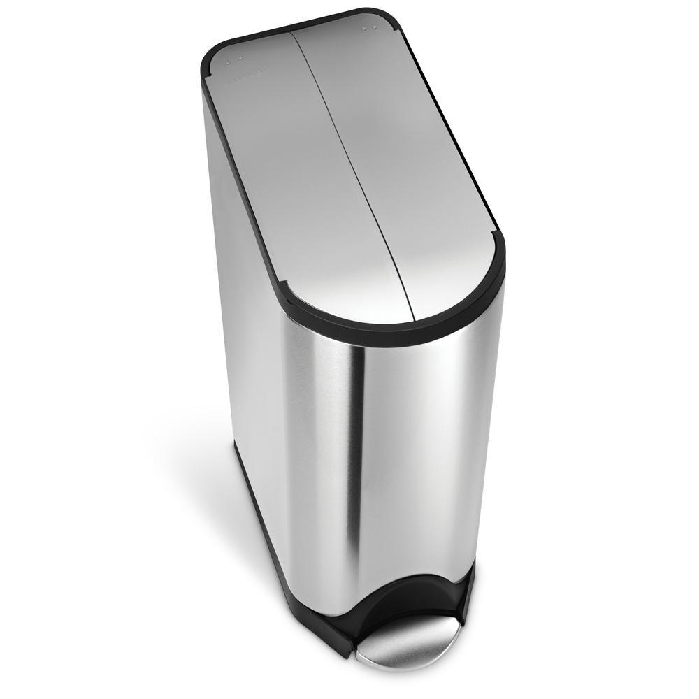 simplehuman 45 liter fingerprint proof brushed stainless steel butterfly step on trash can. Black Bedroom Furniture Sets. Home Design Ideas