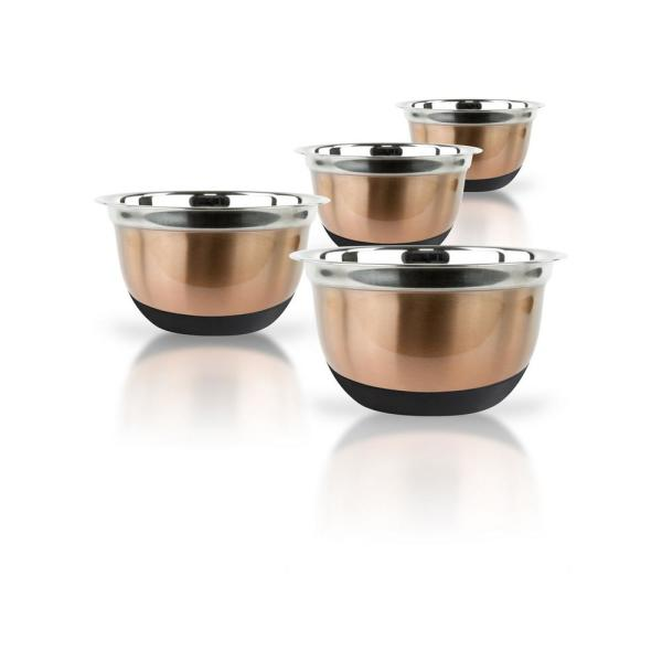 4-Piece Copper Stainless Steel Mixing Bowl Set with Silicone Bottoms MW2130