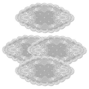 Floret 14 in. x 28 in. White Doily (Set of 4)