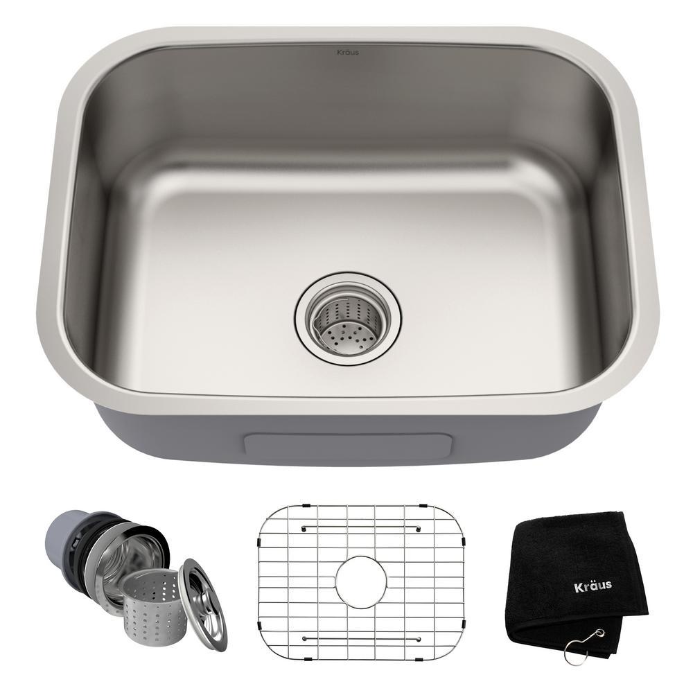 Kraus Premier Undermount Stainless Steel 23 In Rectangular Single Bowl Kitchen Sink Kbu12 The Home Depot