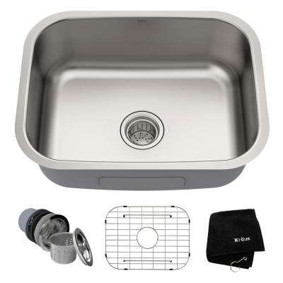 Premier Undermount Stainless Steel 23 in. Rectangular Single Bowl Kitchen Sink