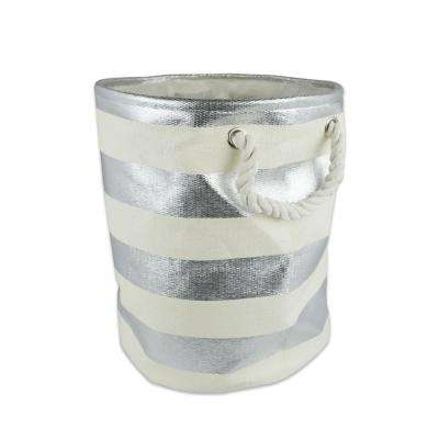 Round Woven Paper Stripe Decorative Bin