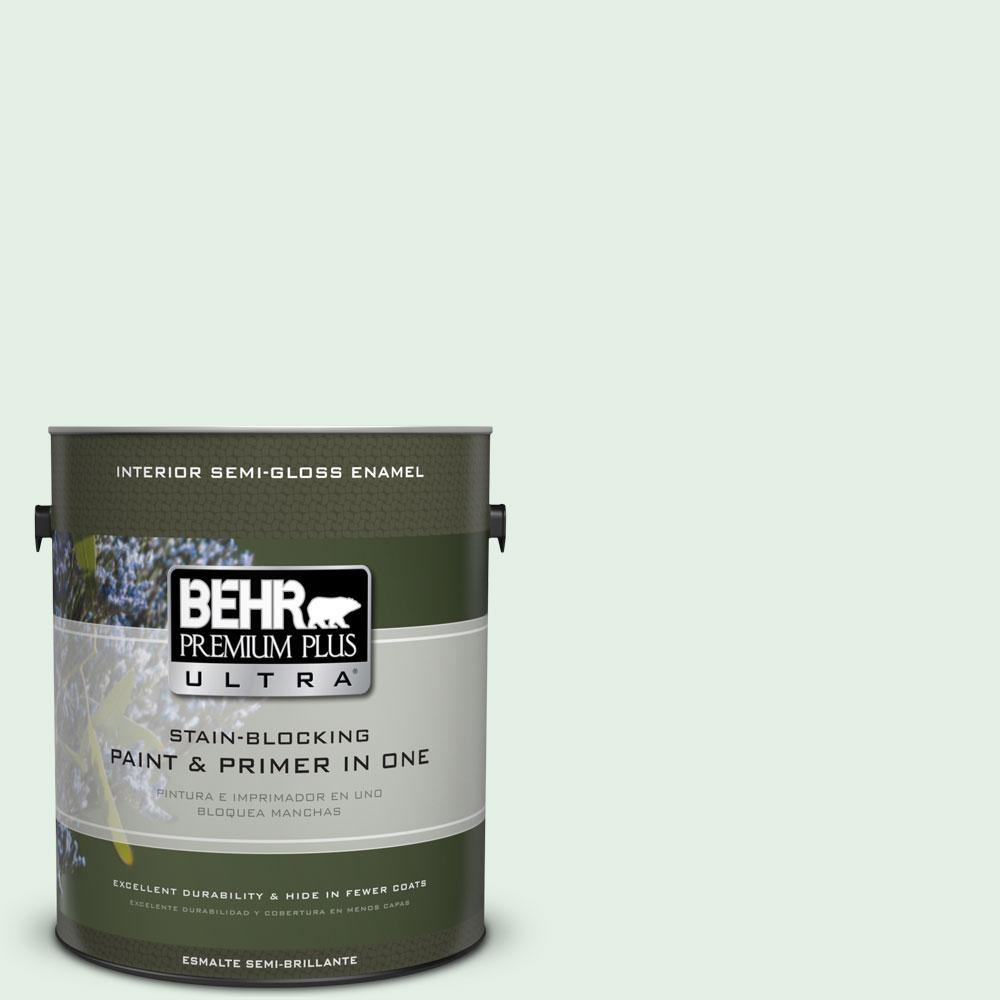 Behr Premium Plus Ultra 1 Gal Ppl 25 Sign Of Spring Semi Gloss Enamel Interior Paint And Primer In One 375001 The Home Depot