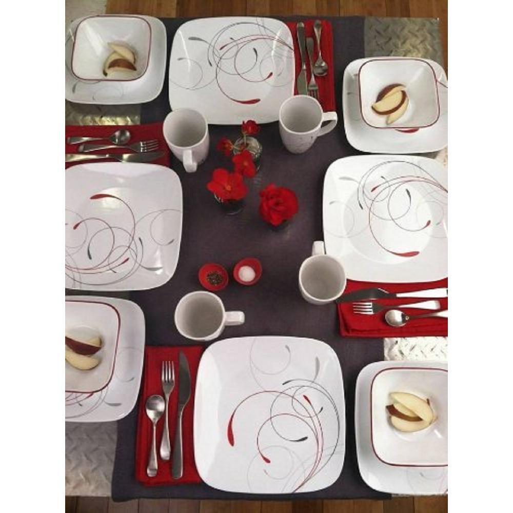 Splendor Vitrelle; Square Splendor Vitrelle 6-Piece Contemporary Splendor Glass Dinnerware Set (Service for 6)