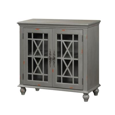 Harper's Branch Aged Grey Accent Cabinet with Framed Doors