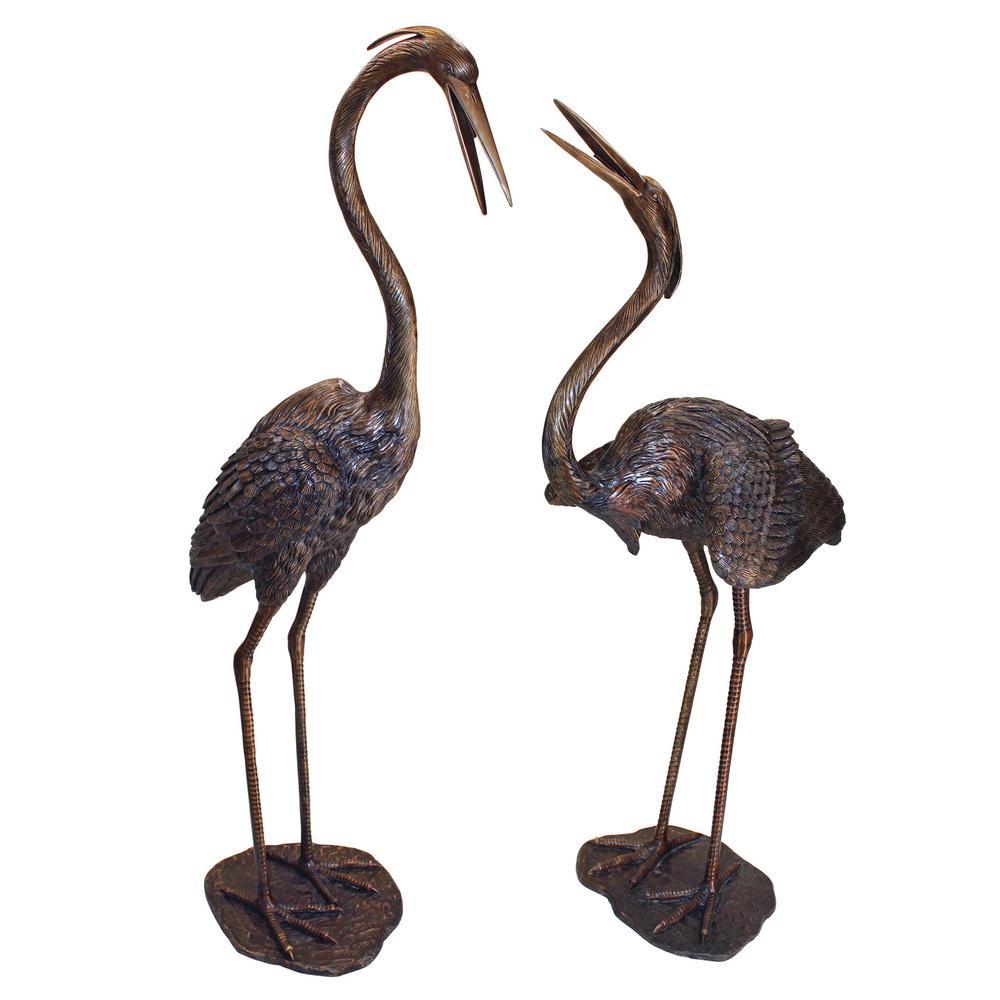 Cast Bronze Grand Heron Garden Statue