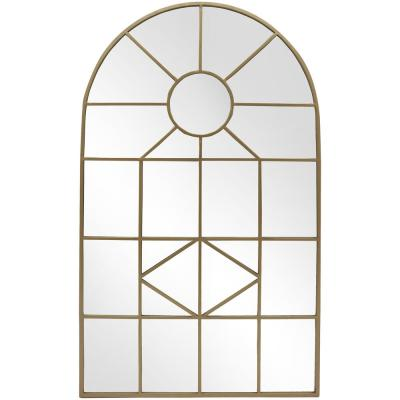 Medium Arched Gold Windowpane Classic Accent Mirror (39 in. H x 24 in. W)