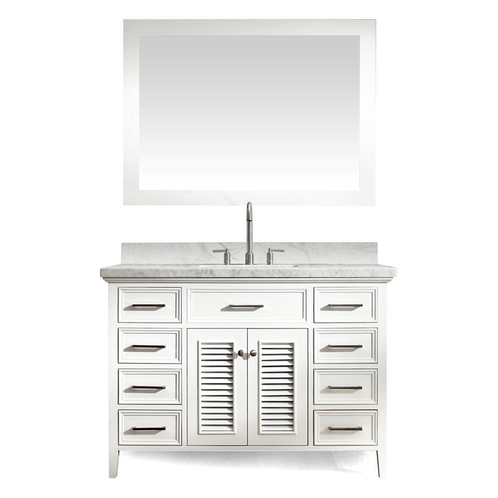 Ariel Kensington 49 in. Bath Vanity in White with Marble Vanity Top in Carrara White, Under-Mount Basin and Mirror